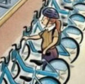 new yorker cover page bikes - girl only
