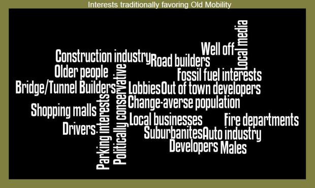 MM- interests traditionally favoring Old Mobility