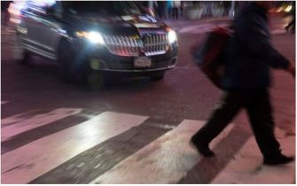 speeding car pedestrian crossing