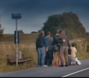 Denmark- Group of Danes waiting for a bus - small