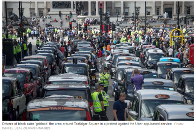 UK London taxi protest against uber