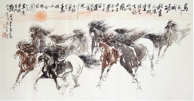 chinese horses running - www.chinesepaintings.com chinese-painting ink P080084L