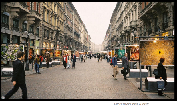 Milano.  Car free zone. Credit: Flickr- Chris Yunker
