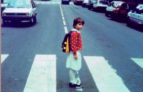 Little girl in traffic
