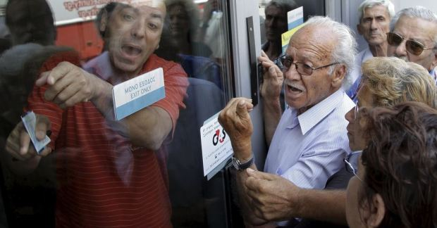 Greek Crisis - waiting at closed bank