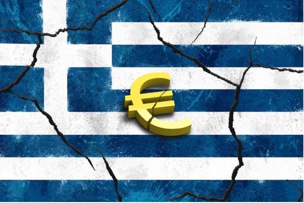 Greek Flag - sattered with broken Euro