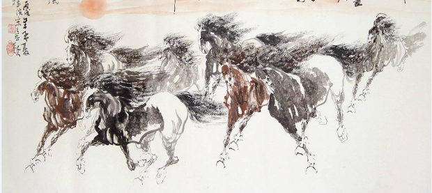 chinese horses running - www.chinesepaintings.com chinese-painting ink-smaller