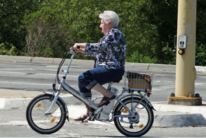 older woman on ebike