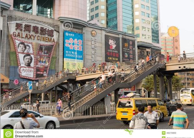 China pedestrian bridge traffic