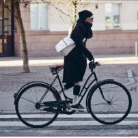 Finland helsinki lady on bike