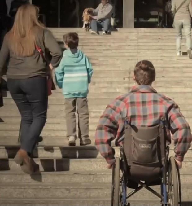 pedestrian bridge wheel chair blocked