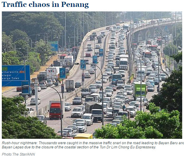 malaysia Penang big traffic jam on highway