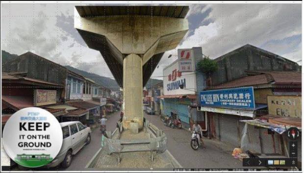 Penang malaysia KL. Elevated LRT and monorail through Prangin, etc