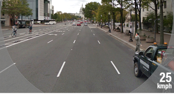 driver vision in city street at 25 kph - source-WRI Cities safer by design