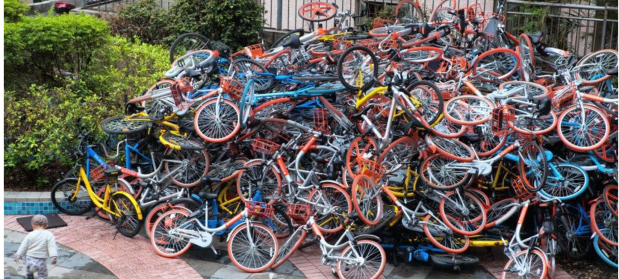 Dockless bike pile up image silenthill imagine China