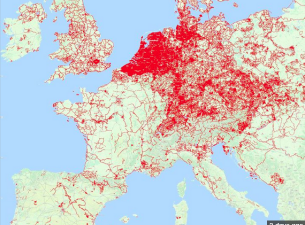 cycle paths in Europe Map