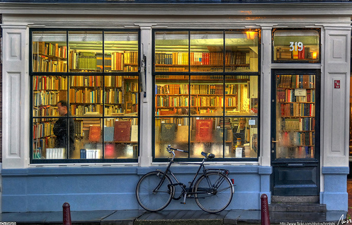 bookstore with bicycle