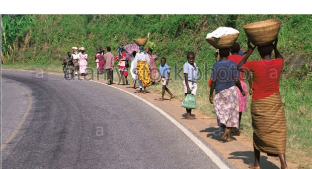 africa uganda women carrying loads on road. with white border top
