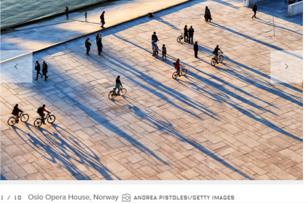 Norway Oslo pedestrians bicycles opera