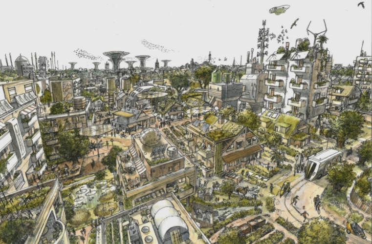 wierd city buit si-fi environment