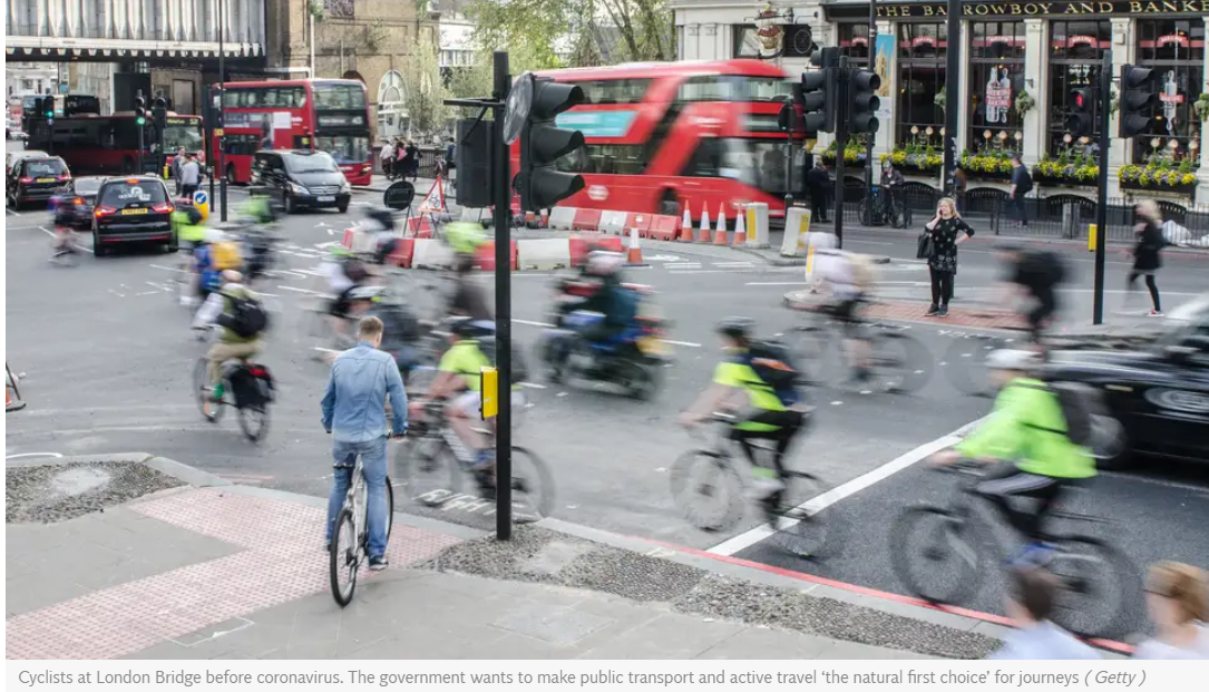 active transport street scene UK London traffic